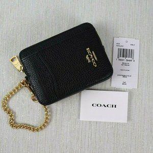 NWT COACH Zip Card Coin Case ID Chain Strap Wallet